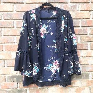 Boutique | Navy Floral Print Bell Sleeve Kimono